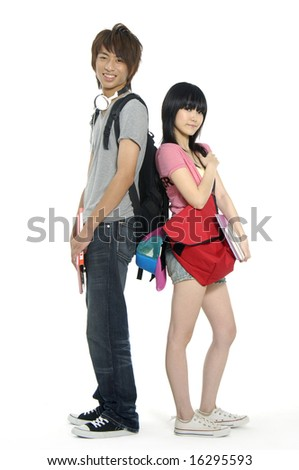 Young woman and men standing with book and bags on white