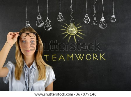 Young woman and teamwork concept - stock photo