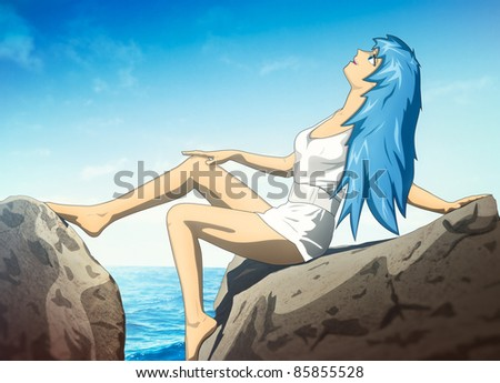 Young woman anime style. Combined vector and raster paint. - stock photo
