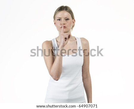 young woman asking for silence