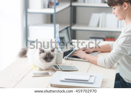 Young woman at home, sitting at desk and working with a laptop, her cat is lying on the desktop, pets and lifestyle concept
