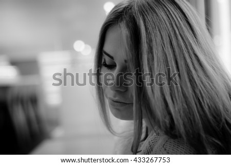 Young woman at home  warm portrait