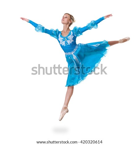 young woman ballerina ballet dancer jumping on white background - stock photo