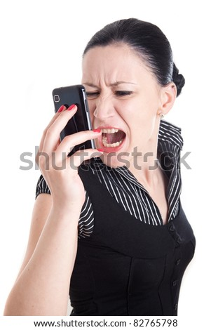 Young woman bawling in her smart phone - stock photo