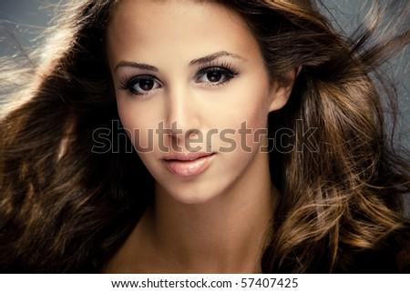 young woman beauty portrait, close, studio shot - stock photo