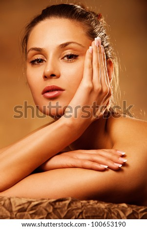 young woman beauty portrait in spa salon - stock photo
