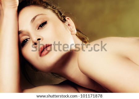young woman beauty portrait small amount of grain added - stock photo
