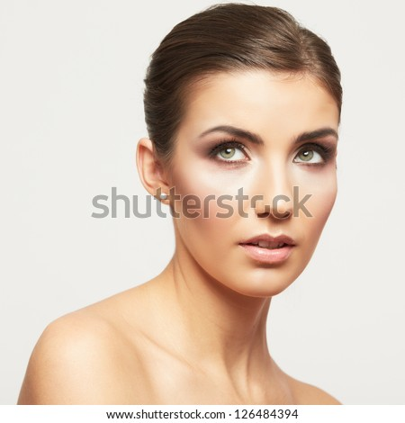 Young woman beauty style portrait isolated on white. Model studio posing.