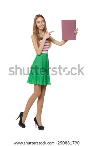 Young woman behind, holding blank advertising board banner, over white background - stock photo