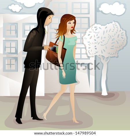 young woman being robbed by a pickpocket on the street - stock photo