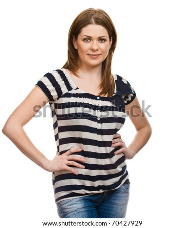 Young woman casual portrait in positive view, natural and big smile on happy face of beautiful model posing in studio over white background . Isolated on white.