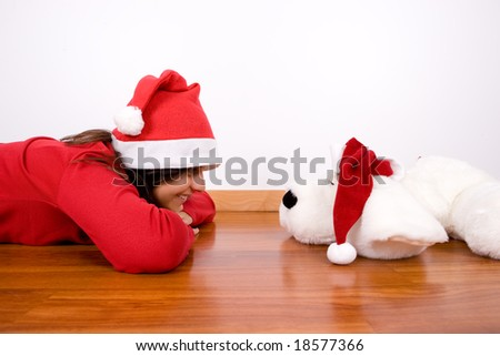 young woman celebrating christmas holidays