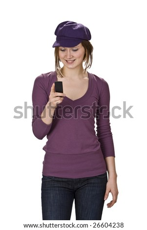 Young woman checking her mobile phone isolated against a white background.