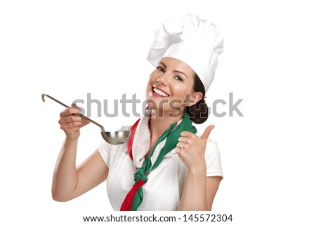 young woman chef showing ingredients for italian food on white - stock photo