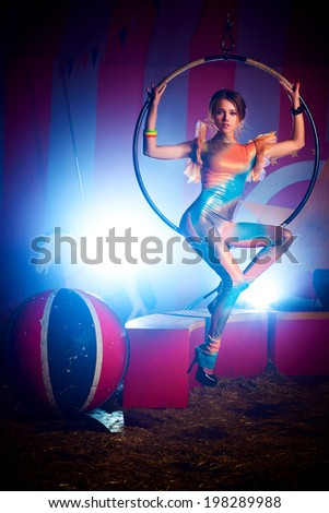 Young woman circus artist. - stock photo