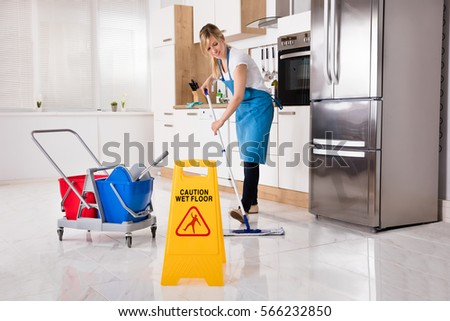 Young Woman Cleaning Floor Mop Kitchen Stock Photo (Royalty Free ...