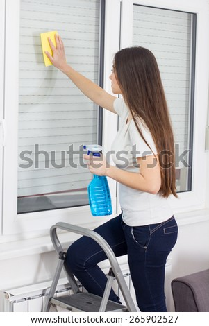 Young Woman Cleaning Windows Glass on ladder at the home.