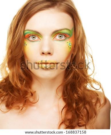 Young woman. Closeup. Creative makeup.  - stock photo