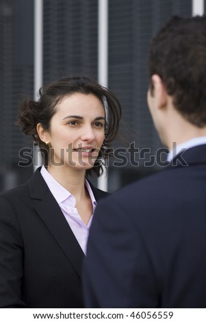 Young woman coming to a job interview