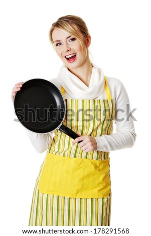 Young woman cooking healthy food , isolated on white