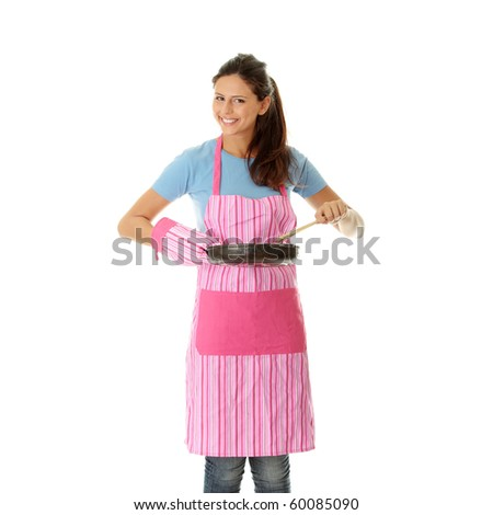 Young woman cooking healthy food, isolated on white - stock photo