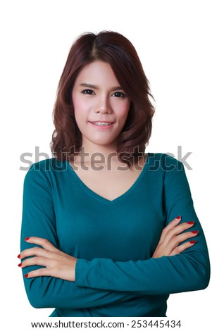 Young woman crossed arms standing against white. Confident pose