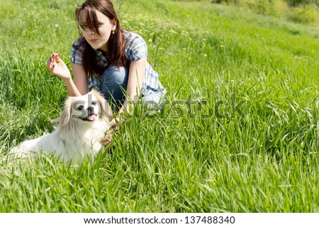 Young woman crouched down playing with her cute little dog in long green grass - stock photo