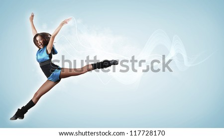 Young woman dancer illustration. With lights effect.