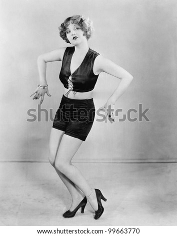 Young woman dancing - stock photo