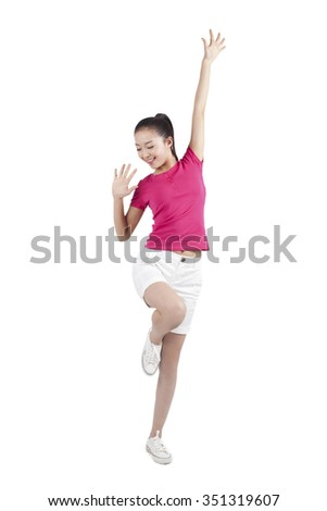 Young woman dancing,smiling