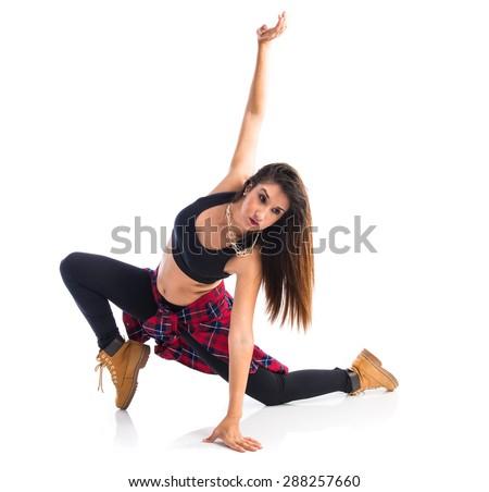 Young woman dancing street dance - stock photo
