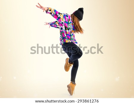 Young Woman Dancing Street Dance Over Stock Photo 293861276