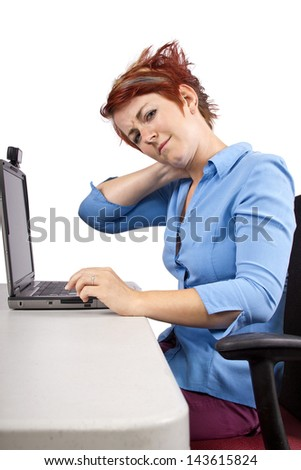 young woman demonstrating office desk posture - stock photo