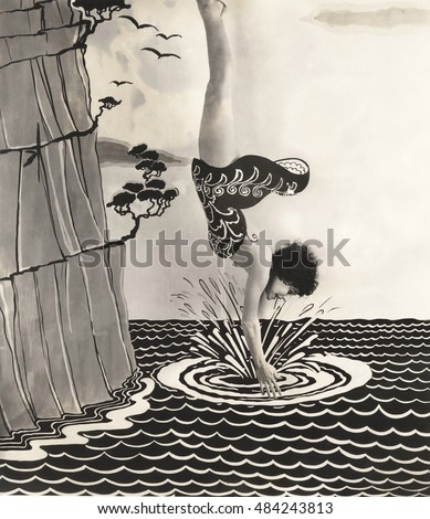 Young woman diving into water illustration