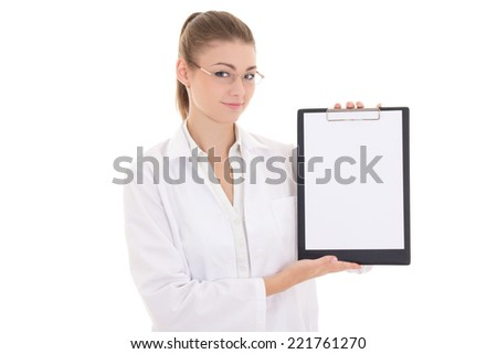 young woman doctor holding clipboard with copyspace isolated on white background - stock photo