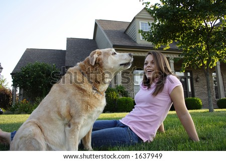 Young Woman & Dog - stock photo