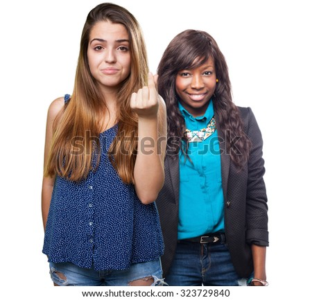 young woman doing a poor gesture - stock photo