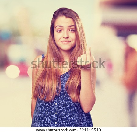 young woman doing a rich gesture - stock photo