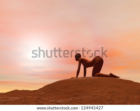 Young woman doing cow pose, bitilasana, while practicing yoga outside in front of sunset