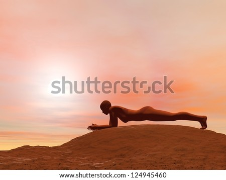 Young woman doing dolphin plank pose, makarasana, while practicing yoga outside in front of sunset