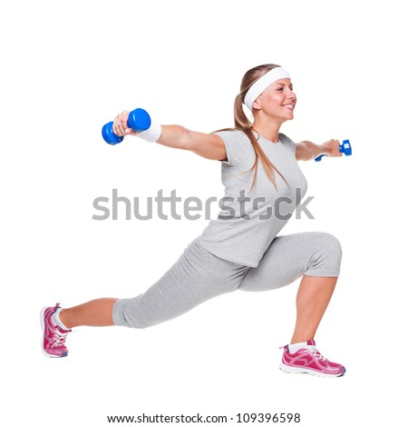 young woman doing exercises with weight. isolated on white background