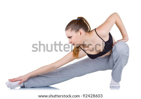 Young woman doing fitness exercises, isolated on white background