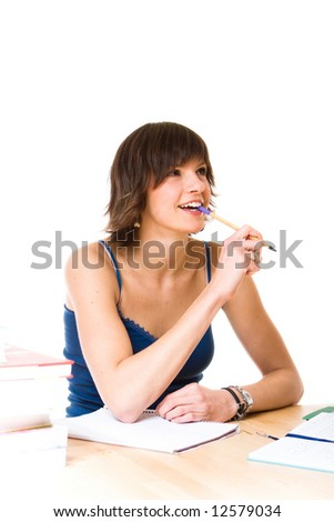 Young woman doing her studies - stock photo
