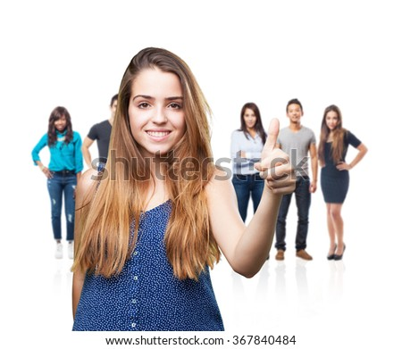 young woman doing okay gesture - stock photo