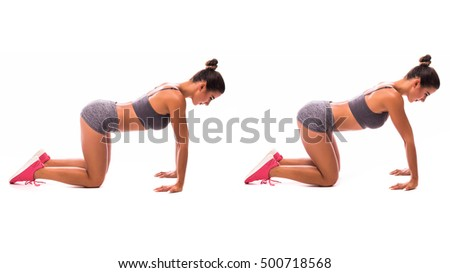 Young woman doing sport plank exercise.