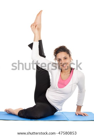 young woman doing stretching exercises isolated on white