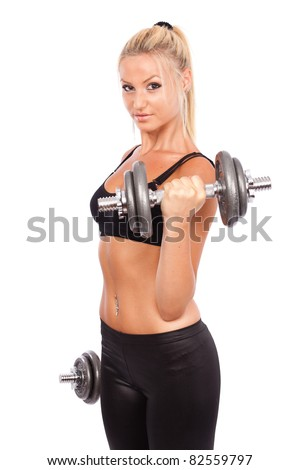 Young woman doing workout with weights, isolated on white background