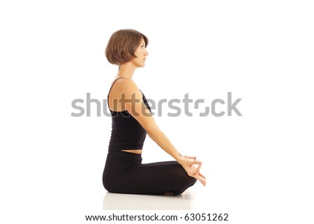 Young woman doing yoga Namaste Hands Pose - stock photo