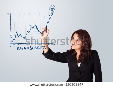 Young woman drawing graph on whiteboard