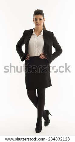 young woman dressed in black isolated on white background